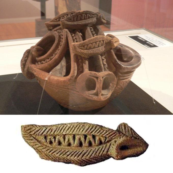 縄文時代の土器に装飾されているツチノコ