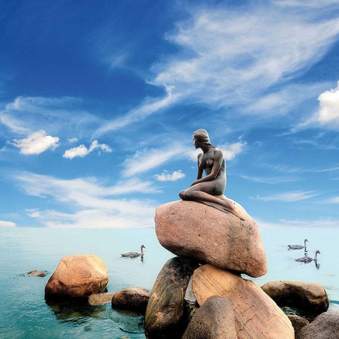 デンマークの人魚姫のブロンズ像
