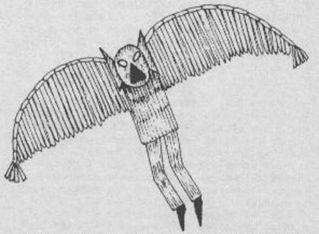 オウルマン(コウモリ人間)の目撃スケッチ