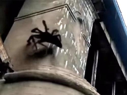 橋桁にしがみつく巨大蜘蛛のモンスター