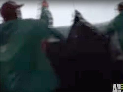 半魚人が漁船の網に掛かる(南アフリカのケープタウン沖)1