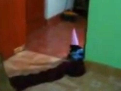 とんがり帽子を被った精霊デュエンデが、ペルーの民家に出現!