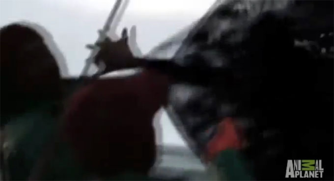 魚網から手を伸ばす半魚人