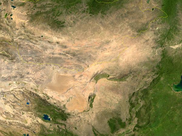 ゴビ砂漠の衛星写真