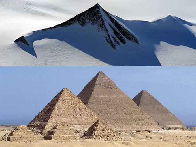 南極大陸で発見されたピラミッドと、エジプトの三大ピラミッド