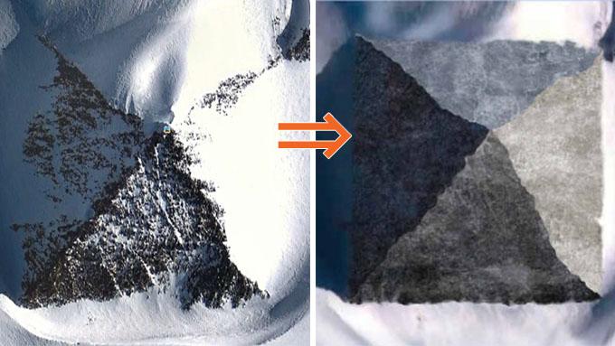 雪を取り除いた南極ピラミッドのイメージ