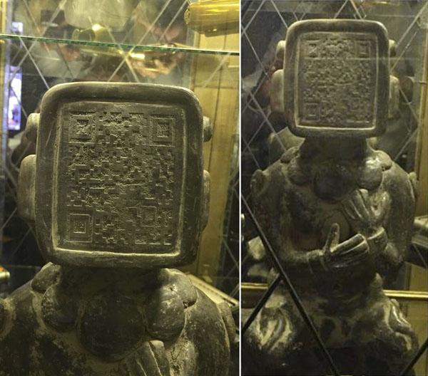 マヤ文明の石像の顔にQRコードが! ここに未来の人類の予言が隠されている?