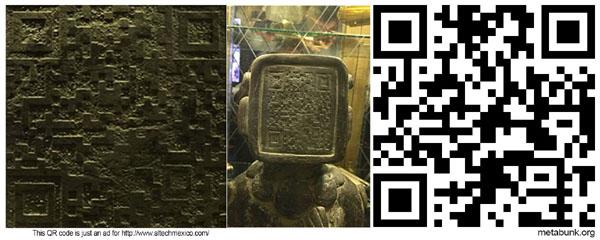 マヤ文明の石像の顔にQRコード2