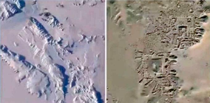 NASAの地中探査画像に現れたピラミッド状の構造物と遺跡