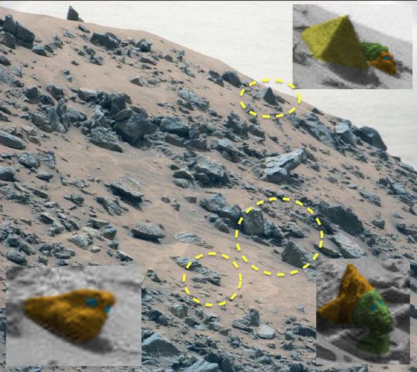 火星のピラミッド周辺の不思議な構造物