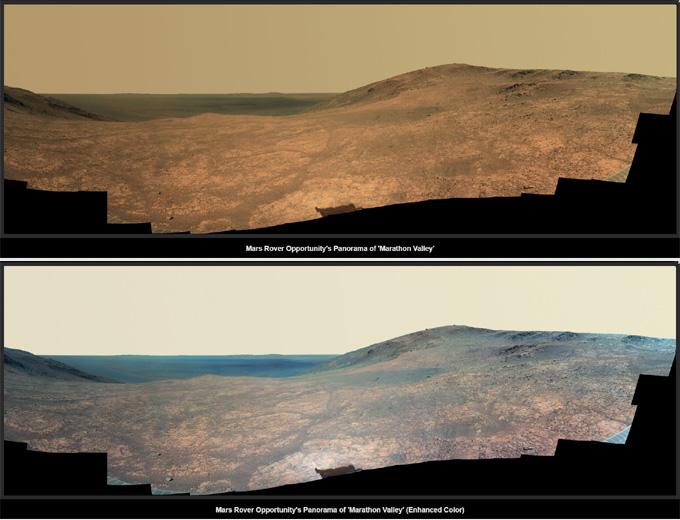 火星探査車オポチュニティが撮影した火星の地表