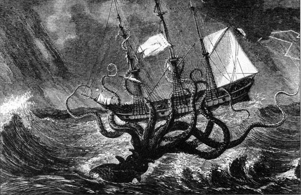 船を襲うクラーケン