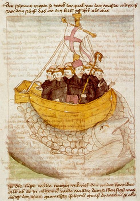 聖ブレンダンの一行が、島と間違えてクラーケンに上陸した伝承の絵