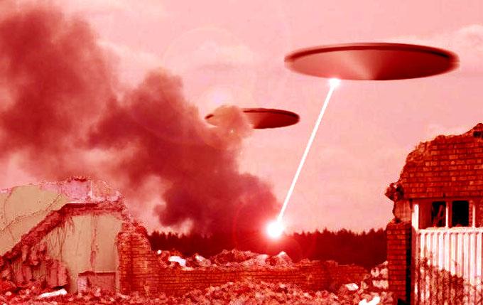 UFOが攻撃しているイメージ写真