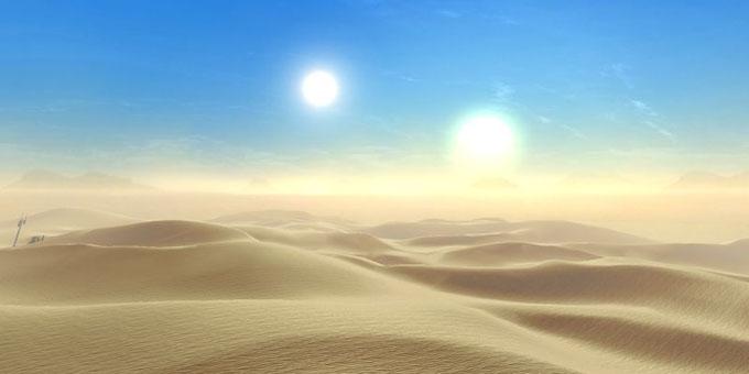 大きな太陽が二つある惑星セルポのイメージ