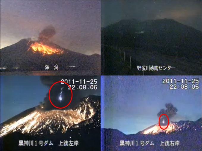桜島の噴煙の中に現れた閃光