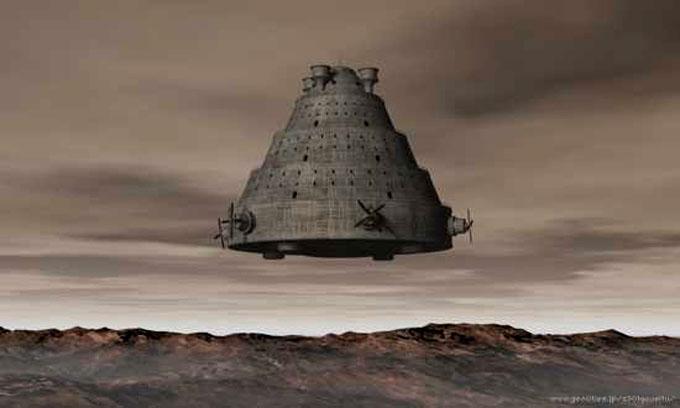 古代の地球に訪れたUFOのイメージ