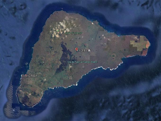 グーグルアースで見るイースター島の全景