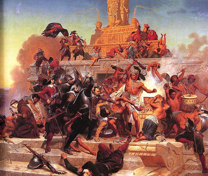 チョルーラを征服するスペイン人