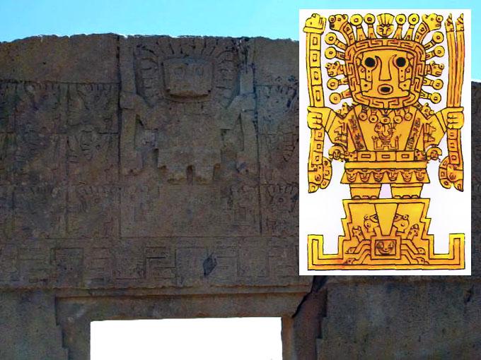 ティワナク遺跡の太陽の門に刻まれたビラコチャの神