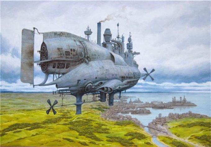 飛行船のイメージイラスト