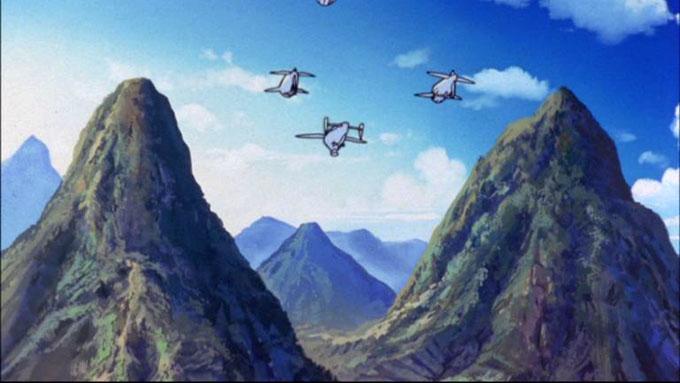 山を越えて飛ぶ飛行船のイラスト