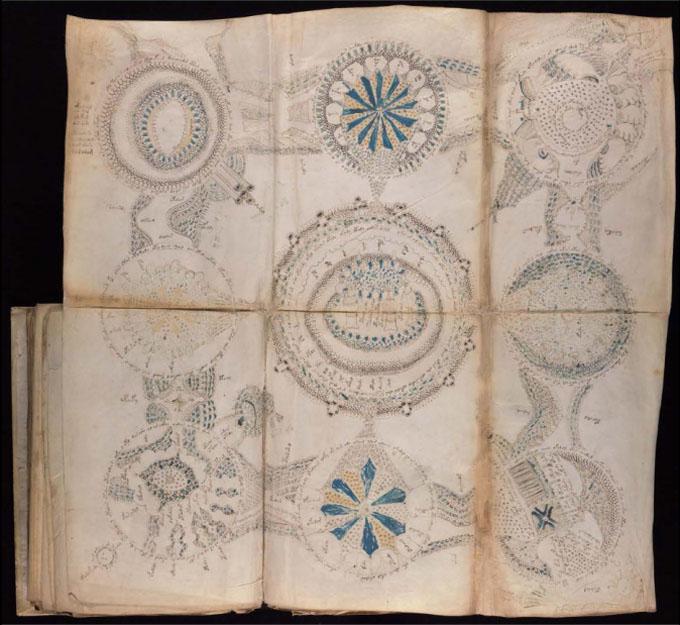 ヴォイニッチ手稿【第4部】精巧な9つのメダイヨンのページ