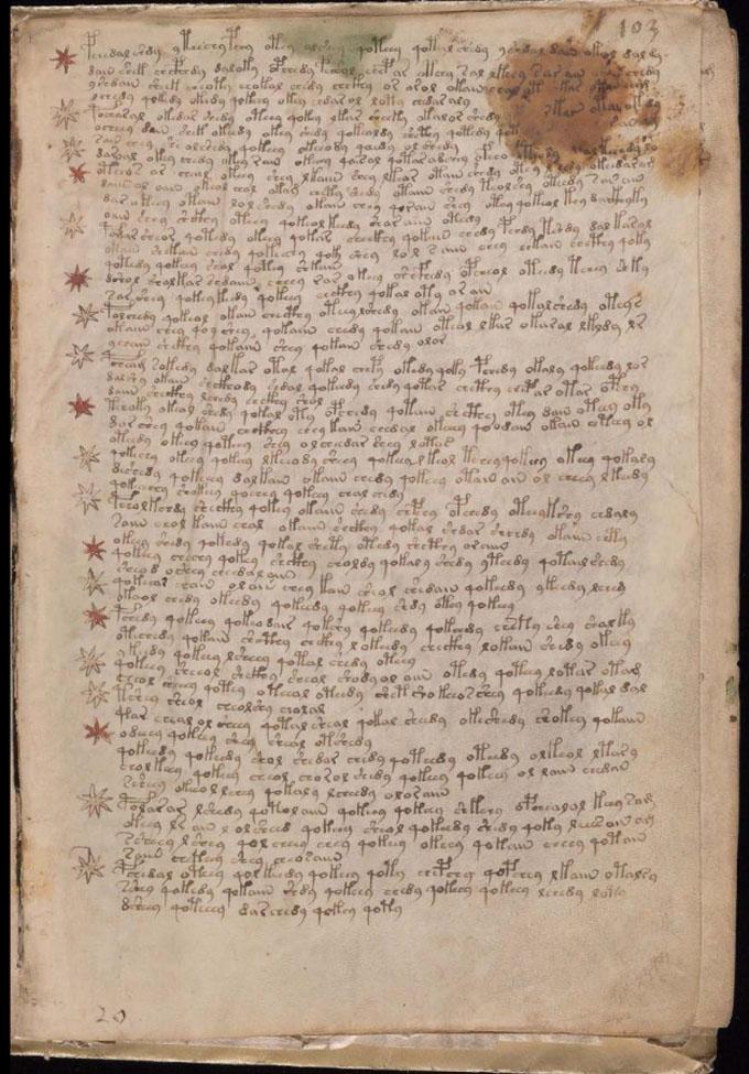 ヴォイニッチ手稿【第6部】 連続するテキストのページ