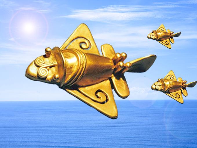 海上を飛行する黄金ジェットのイメージ