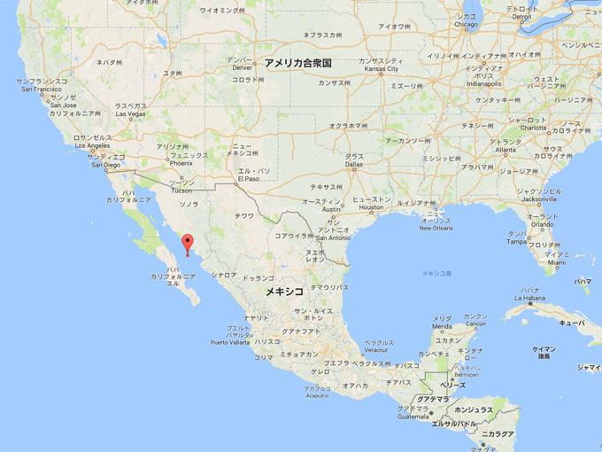 メキシコ沖のカリフォルニア湾の地図