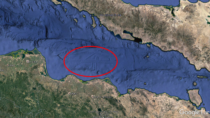 メキシコ・カリフォルニア湾の海底遺跡