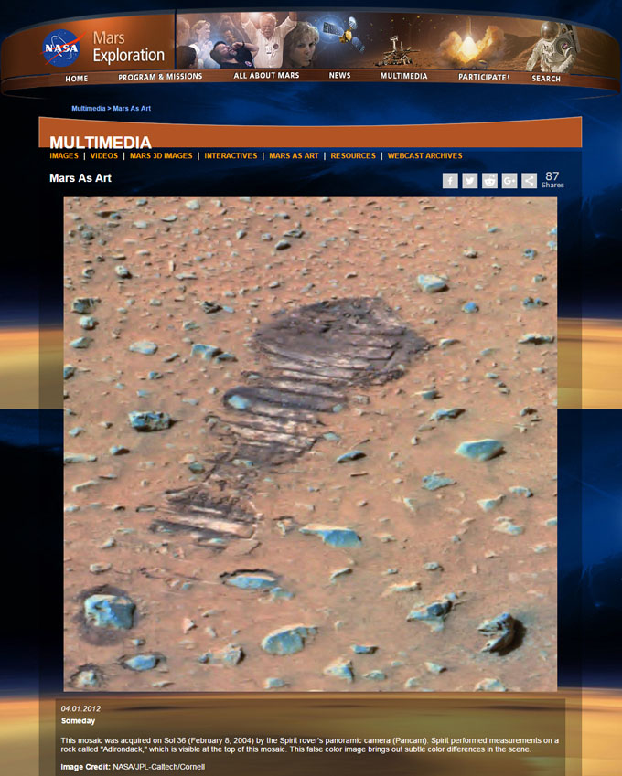 火星地表の人間の足跡