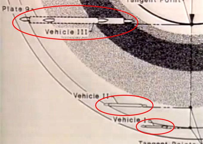 土星の環に潜む3機の巨大UFOの図