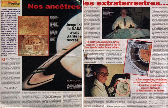 フランスの新聞に掲載された土星のUFO