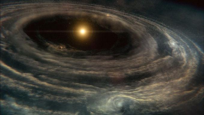 星分子雲が太陽系を作り出しているイメージ