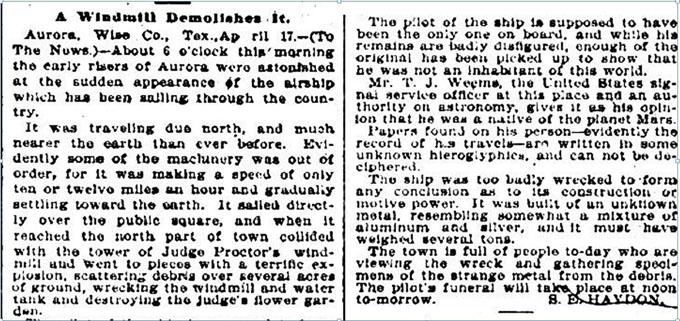 オーロラ事件を伝える当時の新聞記事