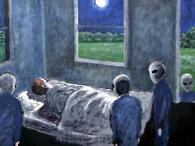 ハギンズの部屋に侵入する宇宙人グレイたち